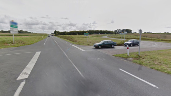 La collision s'est produite sur le CD925 qui relie Goderville et Fécamp, au niveau de cette intersection (illustration@Google Maps)