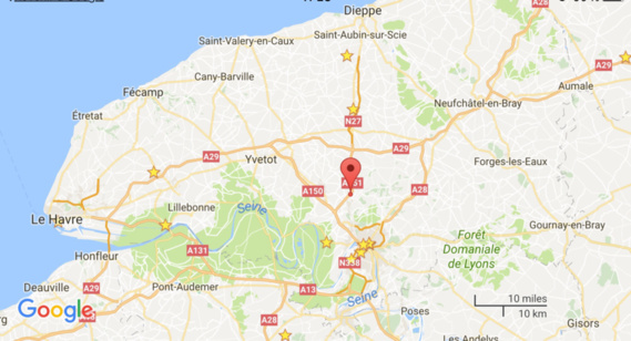Accident sur l'A151 à Eslettes (Seine-Maritime) : la voiture fait des tonneaux, le conducteur est blessé