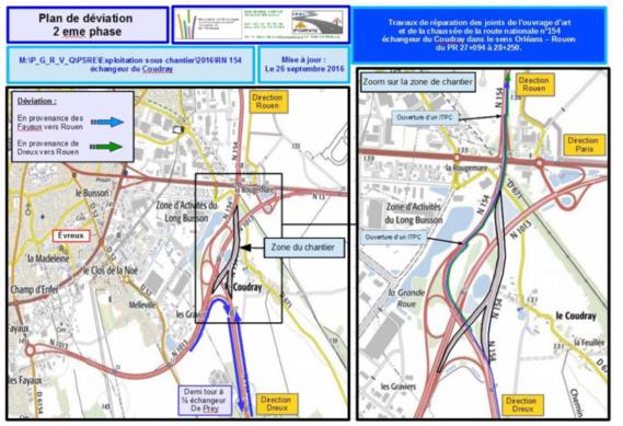 """Travaux sur la RN 154 dans l'Eure : restriction de circulation à l'échangeur du """"Coudray"""" à Évreux"""