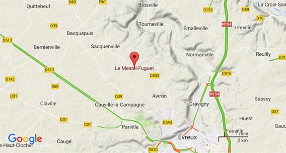 Le Mesnil-Fuguet (Eure) : refus de priorité à un carrefour, un blessé