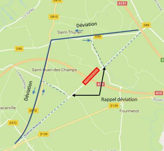 Réfection d'un pont autoroutier sur l'A13 : restrictions de circulation et déviations à prévoir