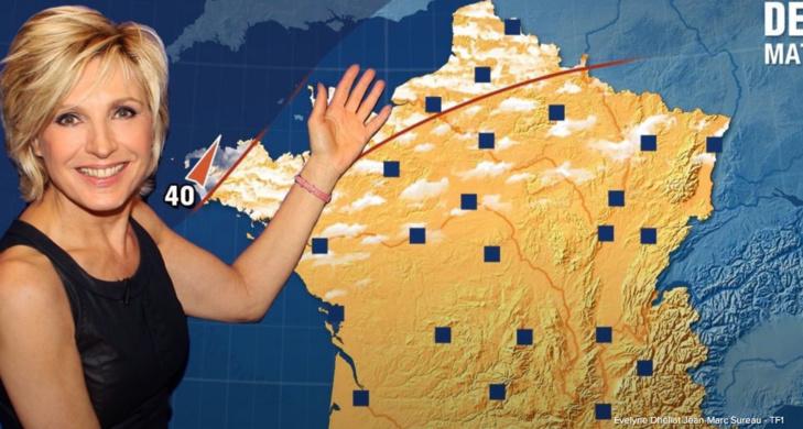 """""""Remplacer la ville de Cherbourg par celle de Caen par exemple, certes moins exposée, ne pose à priori pas de problème, répond Evelyne Délhiat, madame Météo de TF1 (Capture d'écran/Jean-Marc Sureau - TF1)"""