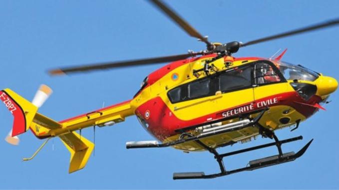 La victime a été transportée à l'hôpital du Havre par l'hélicoptère de la sécurité civile, Dragon 76 (Illustration)