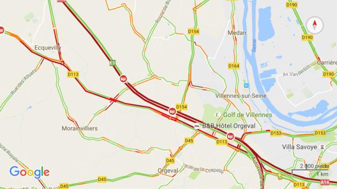 Camion en feu et carambolage perturbent l'A 13 dans le secteur d'Orgeval (Yvelines)