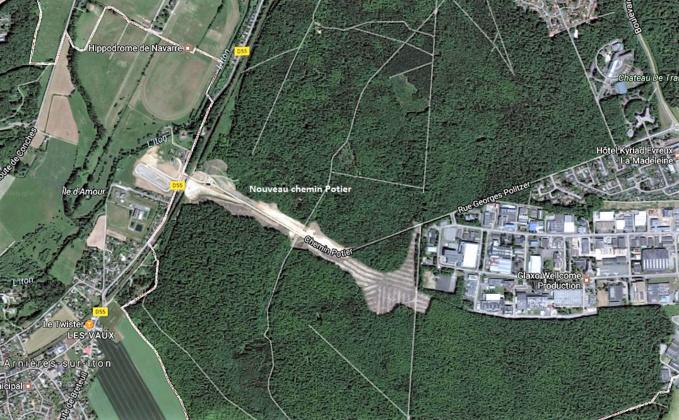 Le nouveau Potier relie le CD55 (route d'Arnières-sur-Iton et la zone industrielle de la Madeleine via la rue Georges Politzer (capture d'écran©Google Maps)