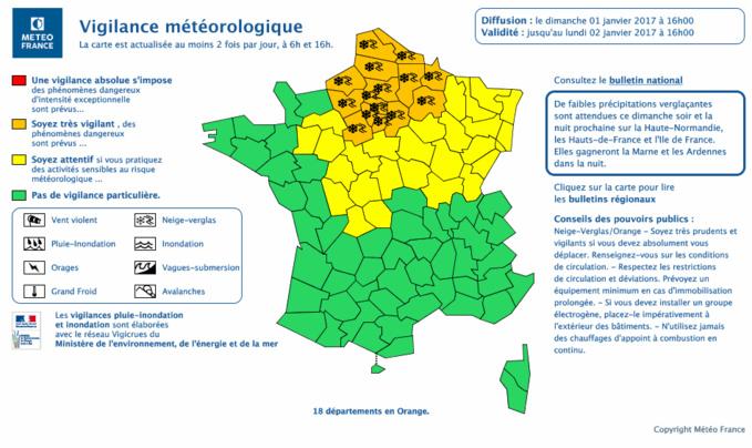 Cliquer sur la carte pour l'agrandir. Document © Météo France