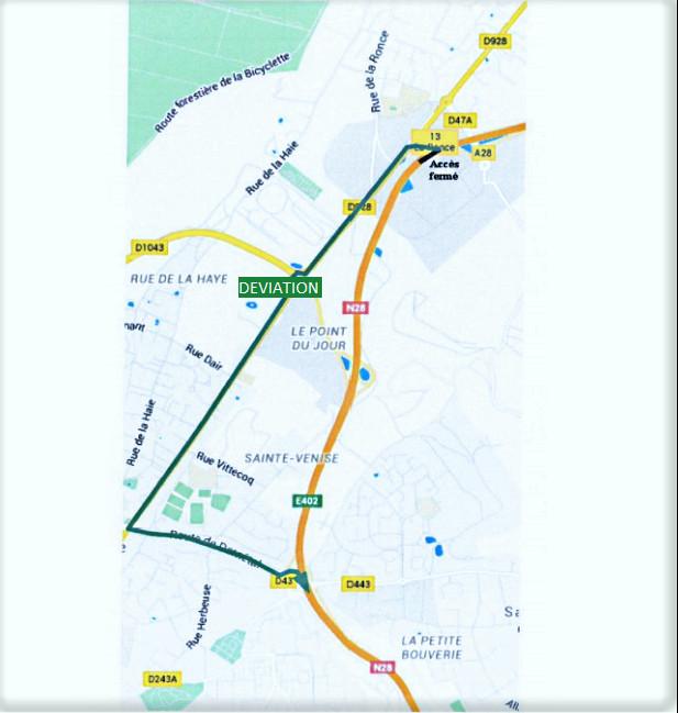 Accès fermé à la RN28 à Bois-Guillaume et mise en place d'une déviation du 19 au 20 janvier