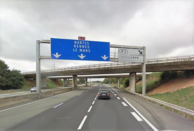 L'autoroute A 11 dans le sens Paris - Le Mans (Illustration ©GoogleMaps)
