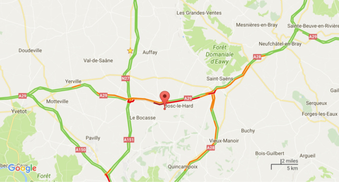L'A29 coupée ce matin en Seine-Maritime après une collision impliquant 4 véhicules