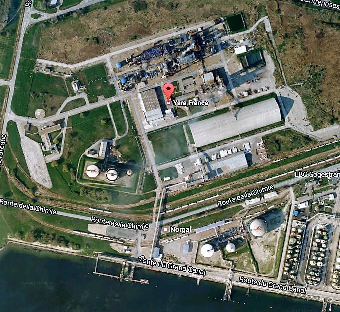 Yara à Gonfreville-l'Orcher est un site industriel classé Seveso (Illustration©Google Maps)