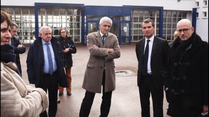Hervé Morin au lycée Dumont d'Urville, à Caen, aujourd'hui mercredi (Photo©Biernacki/Région Normandie)