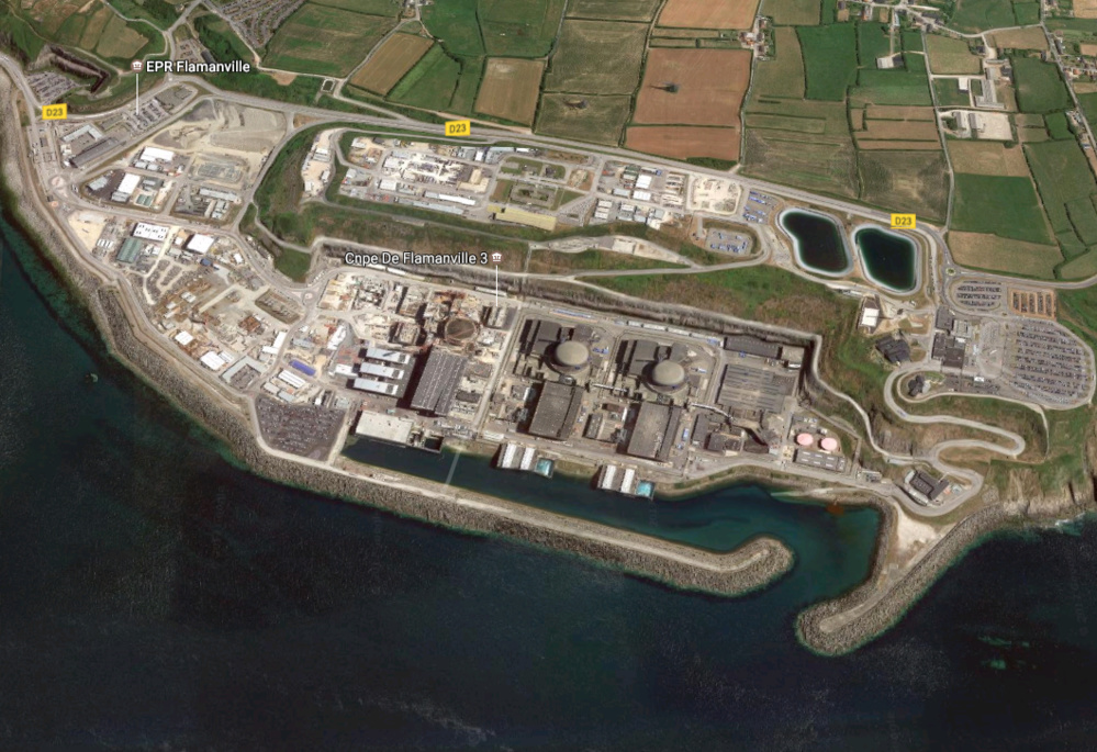 La centrale nucléaire de Flamanville, dans la Manche (Illustration©Google Maps)