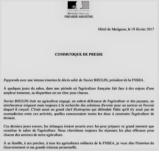 Le monde agricole en deuil : décès brutal de Xavier Beulin, président de la FNSEA