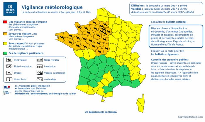 Cliquer sur la carte pour l'agrandir ©Météo France