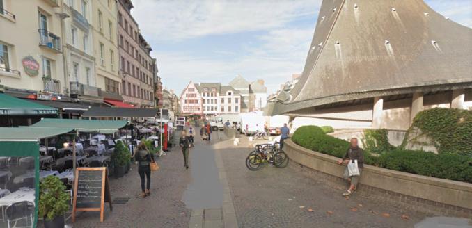 L'altercation s'est produite place du Vieux Marché, dans le centre-ville de Rouen (Illustration © Google Maps)