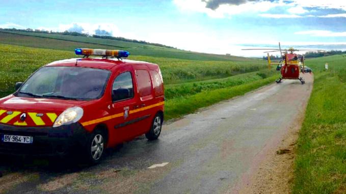 La petite victime a été transportée au CHU de Rouen par l'hélicoptère Dragon 76 (photo @ infonormandie)
