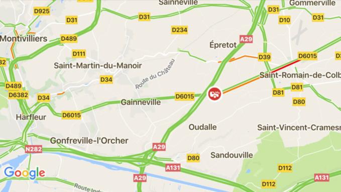 Face-à-face sur la D6015 à Épretot : deux blessés dont un grave héliporté à l'hôpital Jacques Monod