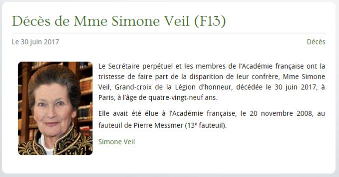 Capture d'écran site de l'Académie française