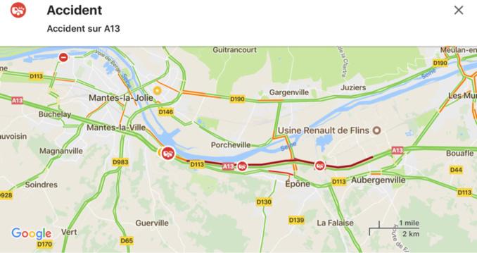 Yvelines : accident grave sur l'A13 avant Mantes, circulation perturbée vers Rouen