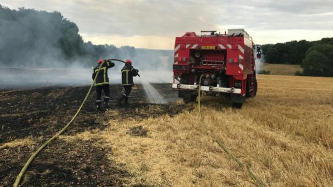 Les sapeurs-pompiers de l'Eure sont intervenus plus d'une vingtaine de fois ces derniers jours pour des feux de récoltes, de broussailles et de végétations (Photo © D.R.)