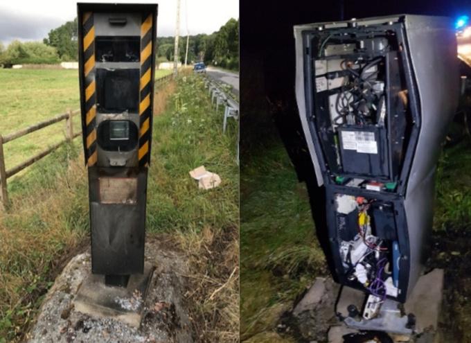 Le radar de Menneval (à gauche) a été endommagé par le feu. Celui de Plasnes, sur le CD438, est hors d'usage (Photos ©D.R.)
