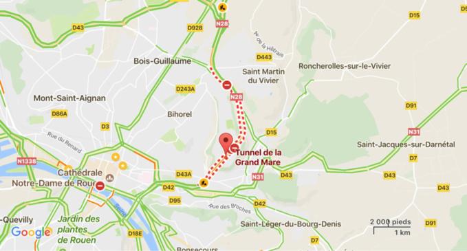 Rouen : le tunnel de la Grand'Mare fermé à cause d'incidents techniques ce dimanche matin
