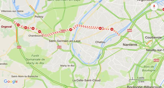 Île-de-France : l'autoroute A14 fermée deux nuits entre le 4 et 6 septembre