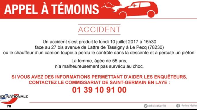 Accident mortel entre Saint-Germain-en-Laye et Le Pecq : les enquêteurs recherchent des témoins