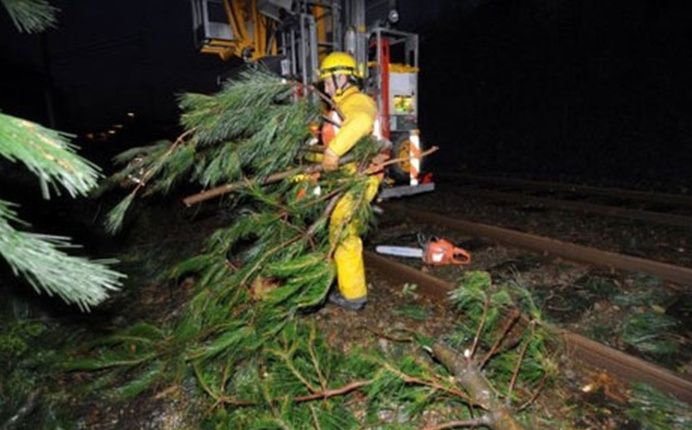Des arbres et des branches sont tombés sur les voies ferrées paralysant le trafic des trains en Normandie (Photo © SNCF/Twitter)