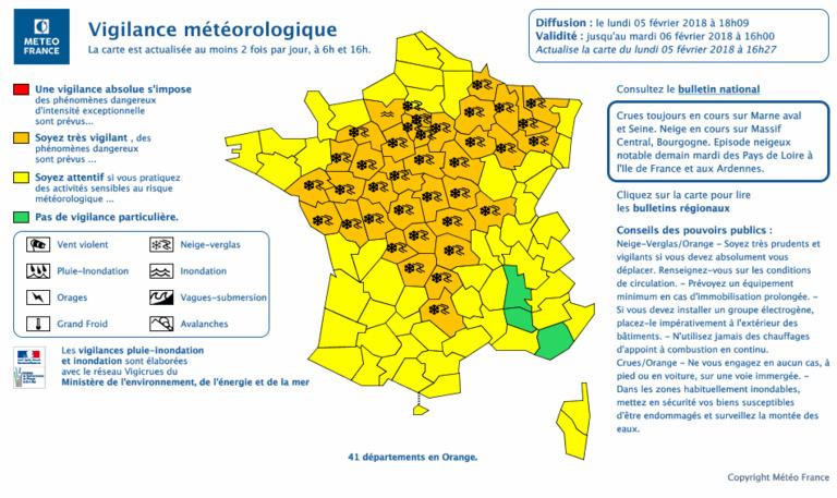 L'Eure et l'Orne, en Normandie, et ceux de la région Île-de-France sont parmi les 42 départements placés en vigilance orange par ©Météo France