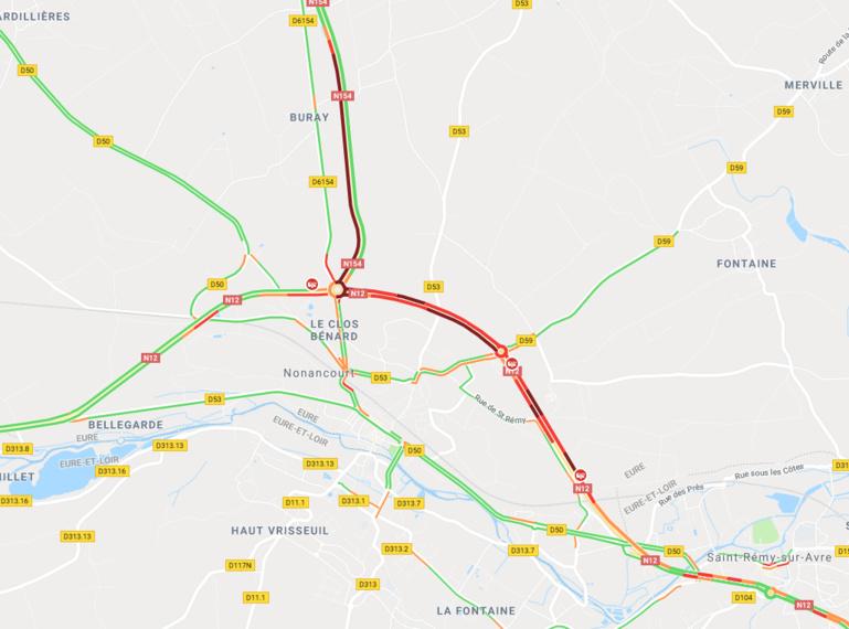 Carambolage sur la RN 12 à Nonancourt : 7 véhicules impliqués, dont un bus et un poids lourd