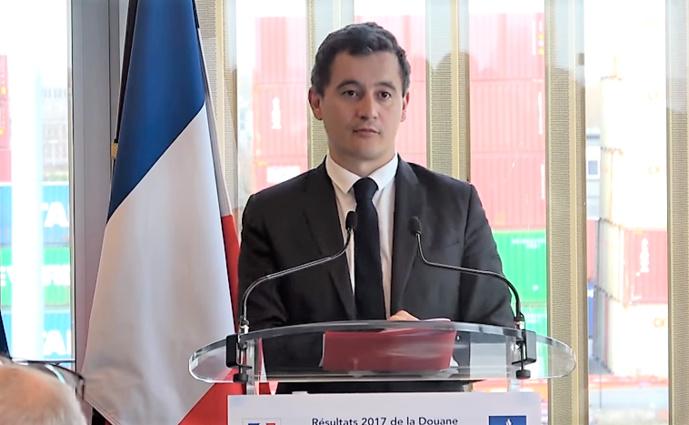 Gérald Darmanin lors de la présentation des résultats 2017 de la douane (Youtube/Douane)