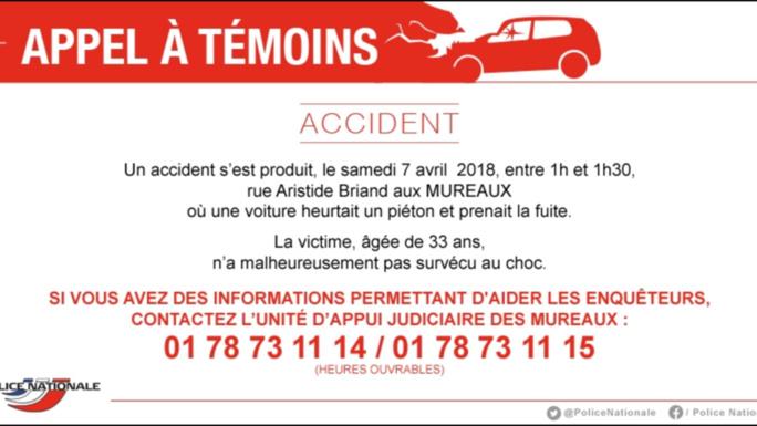 Piéton mortellement blessé aux Mureaux (Yvelines) : la police lance un appel à témoin