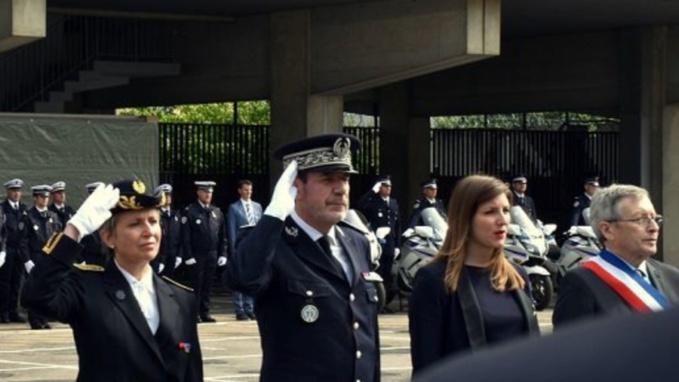 La préfète Fabienne Buccio et le contrôleur général de la police Philippe Trenec, direction départementale de la sécurité publique