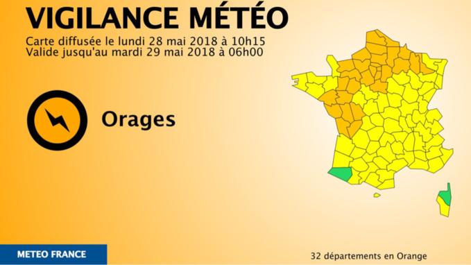 32 départements, dont la Seine-Maritime et l'Eure, placés en vigilance orange «orages»