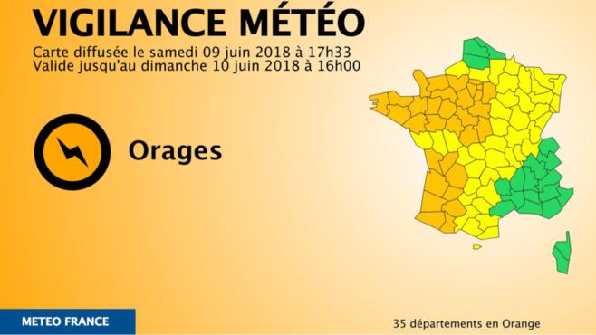 Orages : quatre départements normands, dont l'Eure, placés en vigilance orange jusqu'à dimanche