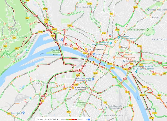 Comme on peut le voir sur cette carte, les principaux axes (en rouge) sont paralysés : l'A 150 et la N338. La situation n'est guère mieux sur les quais rive droite où les dockers bloquent la circulation. Les services de police recommandent aux usagers d'éviter ces secteurs toute la matinée - Illustration © Google