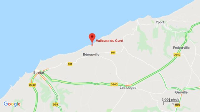 Un couple de touristes finlandais secouru dans la valleuse de Bénouville, au nord-est d'Étretat