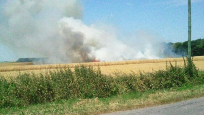 Seine-Maritime : 7 ha d'orge et de paille partis en fumée à Berneval-le-Grand