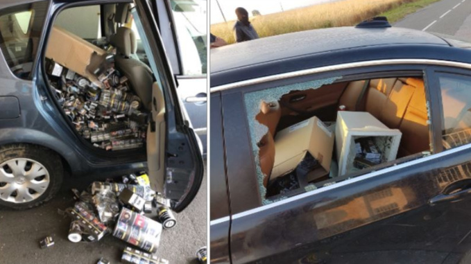 Dans les deux véhicules des cambrioleurs, des paquets de cigarettes et des pots de tabac en grande quantité ont été découverts © Gendarmerie