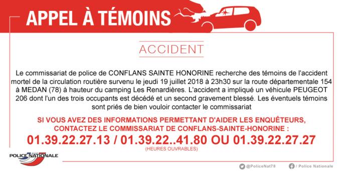 Accident mortel à Médan (Yvelines) : la police lance un appel à témoin