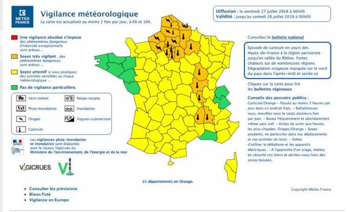 21 départements en vigilance orange «canicule» et «orage» dont l'Eure et la Seine-Maritime