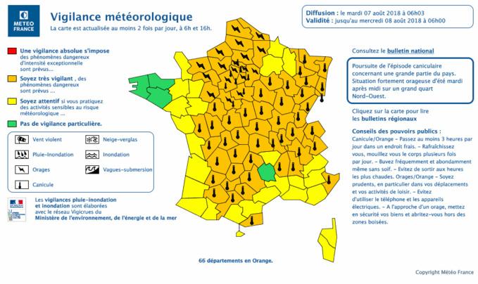 70 départements sont placés en vigilance orange : 56 pour la canicule et 39 pour des risques d'orages