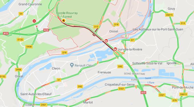 Seine-Maritime : deux blessés dans un accident entre trois véhicules sur l'A 13 à Oissel
