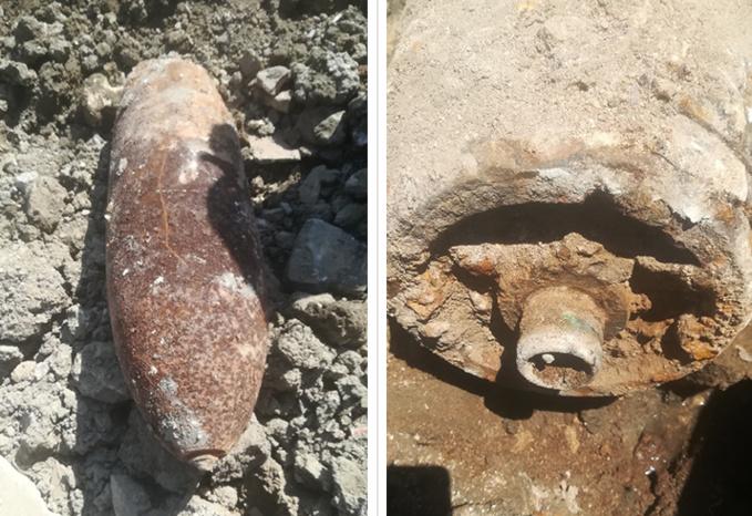 Les deux bombes pèsent 213 kg chacune (500 livres), et mesurent 92,5 cm pour un diamètre de 32,7 cm - Photo © Préfecture du Calvados