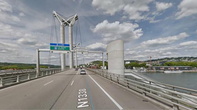 Des travaux de maintenance auront lieu sur le pont Flaubert le mercredi 19 septembre - illustration @ Google Maps