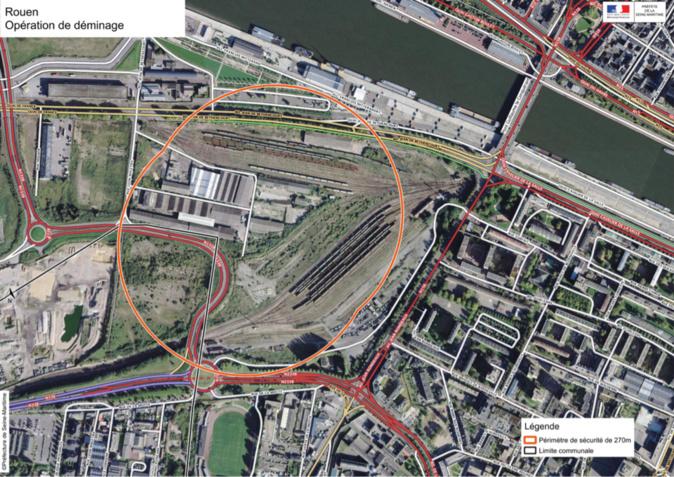 Le périmètre de sécurité établi autour des engins explosifs ne nécessite pas d'évacuation - document @ préfecture76