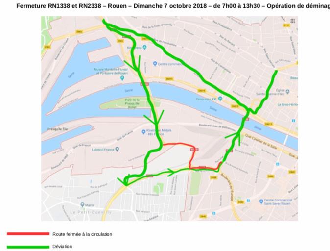 Opération de déminage à Rouen : restriction de circulation sur la RN1338 ce dimanche 7 octobre
