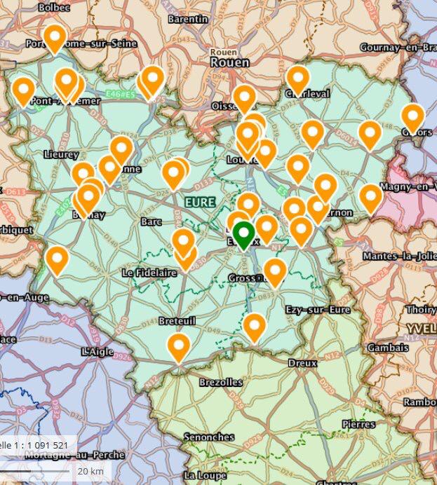 La carte des rassemblements dans l'Eure à 10 heures - document © Préfecture27