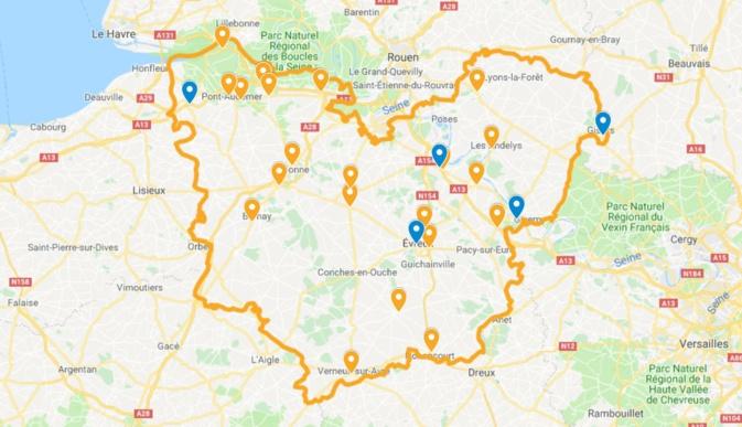 Carte publiée à 18 heures par la préfecture de l'Eure